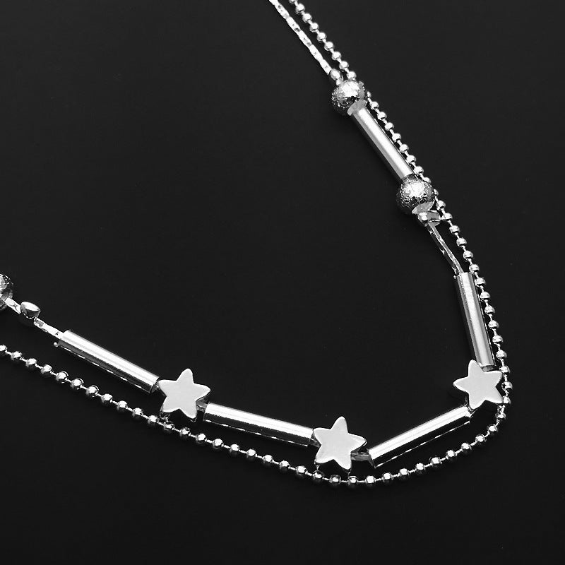 Double chain star shaped beads Anklet with 925 Sterling Silver