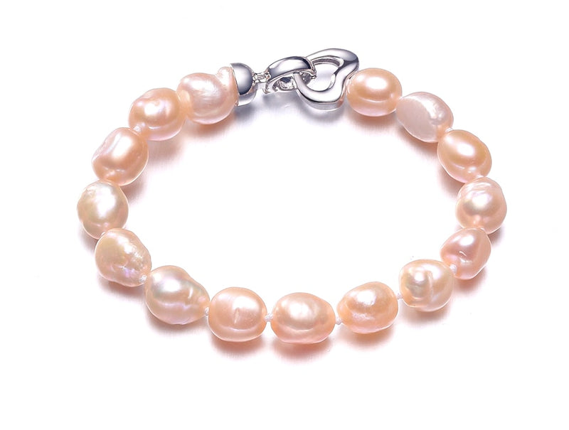 Freshwater Pearl Bracelet With 925 Sterling Silver. Comes in White, Pink, Purple Gray