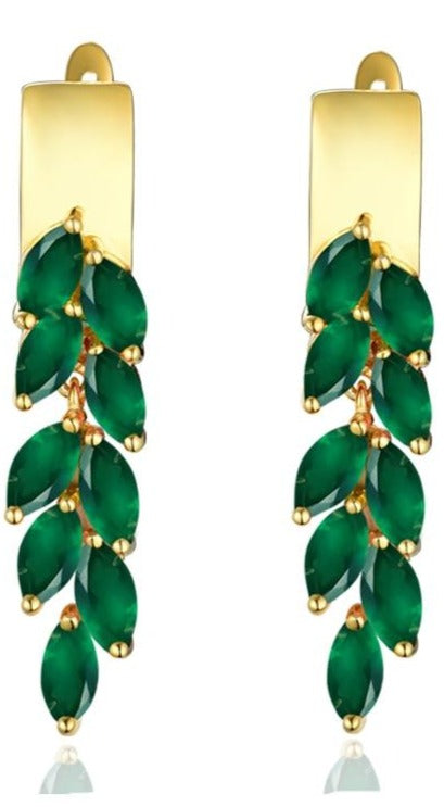 Natural green agate clasp drop Earrings. - 925 Sterling Silver