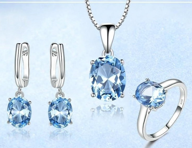 Sky Blue Topaz Gemstone Jewelry Set