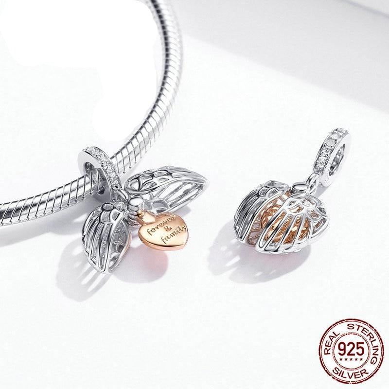 Guardian wings pendant with Zircon & Silver