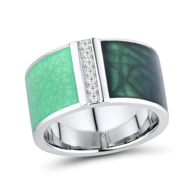 Green Zircon Geometric Square Set Earrings + Ring with Silver