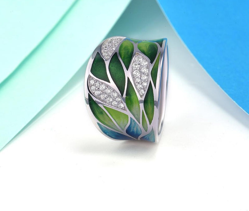 Handmade Enamel Green bamboo leaves with cubic Zirconia + 925 Silver jewelry set