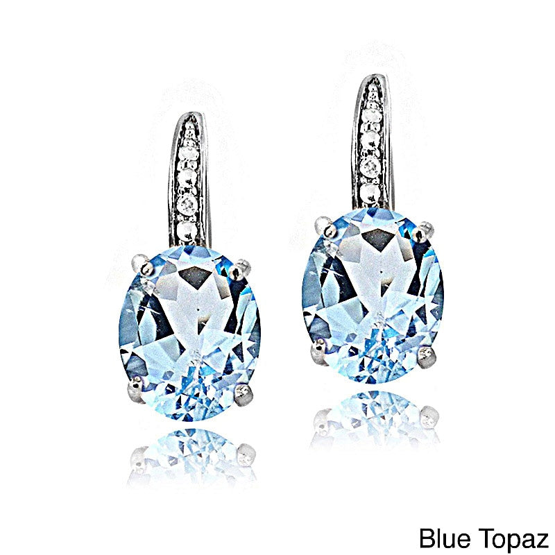 Silver earrings with Topaz available in Blue, Red, Purple & Yellow.