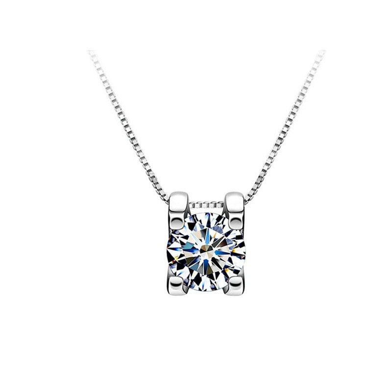 Moissanite Pendant Necklace - 925 Silver 0.5ct/1ct/2ct
