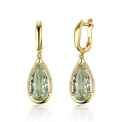 Natural prasiolite green amethyst mix  gemstone Earring 925 Sterling Silver