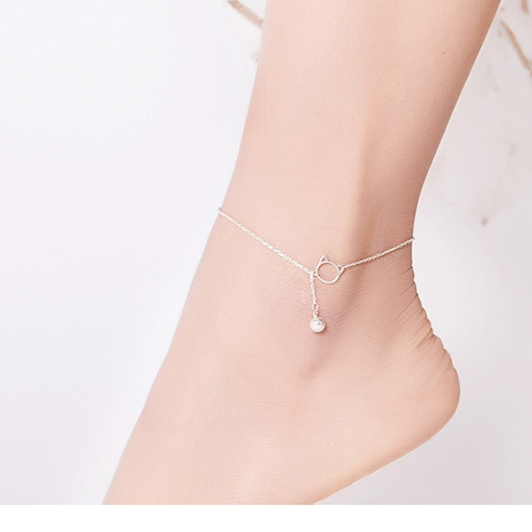 Bead anklets made from Sterling Silver
