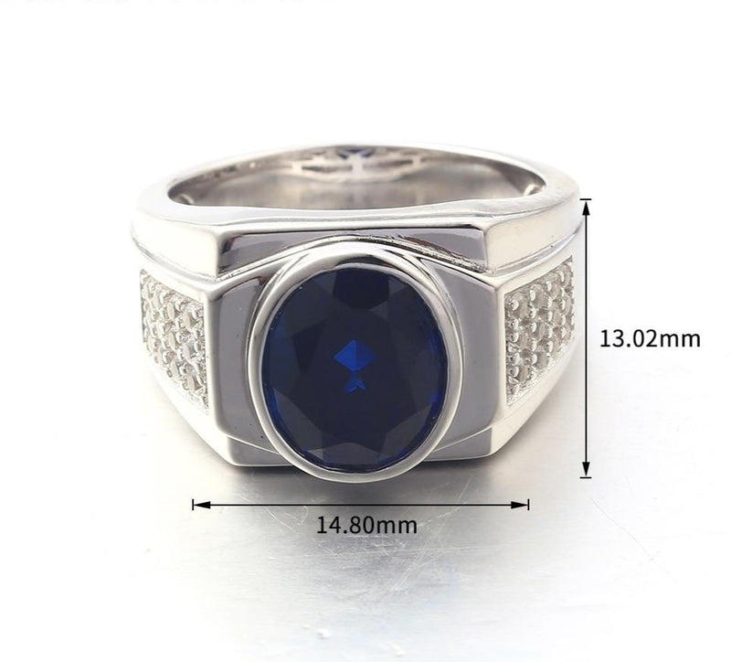 Blue Sapphire Sterling Silver Men's Ring