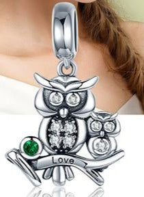 Sterling Silver Crystal Owl pendant with Zircon