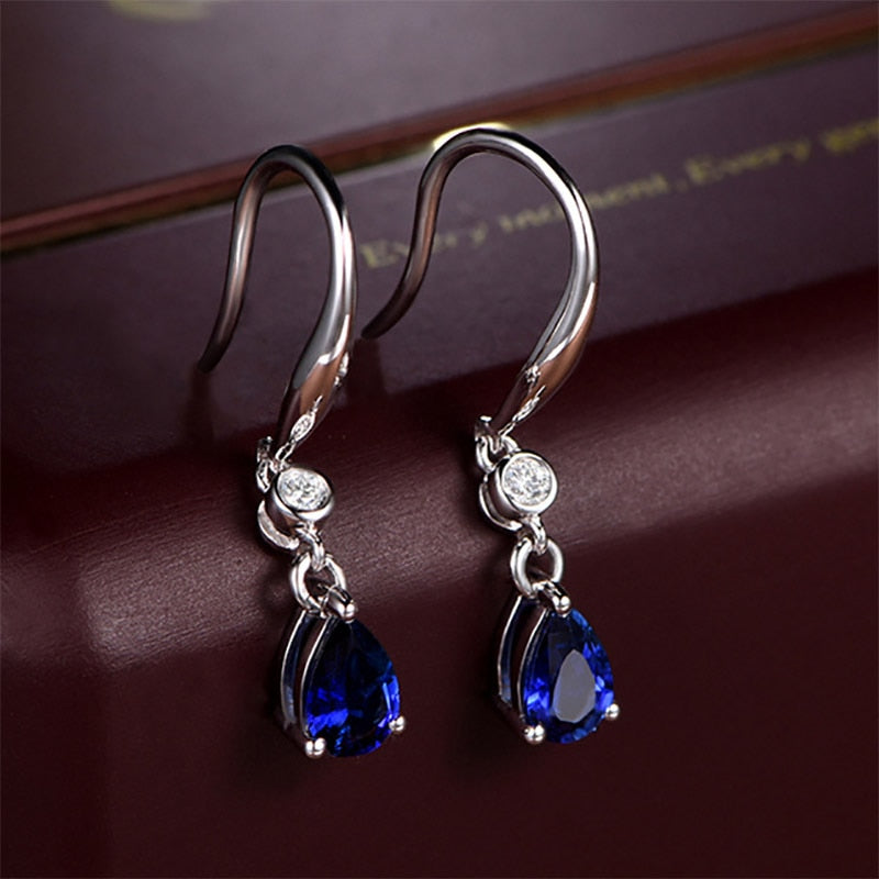 Sapphire with Silver drop earrings