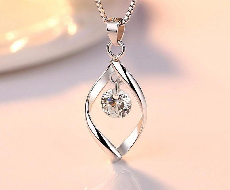 Zircon and Silver Jewelry Set -pendant,necklace & hook earrings.