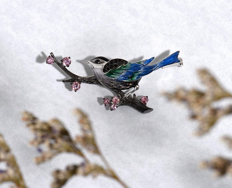 Handmade Enamel Magpie Bird Brooch with Spinel & 925 sterling silver