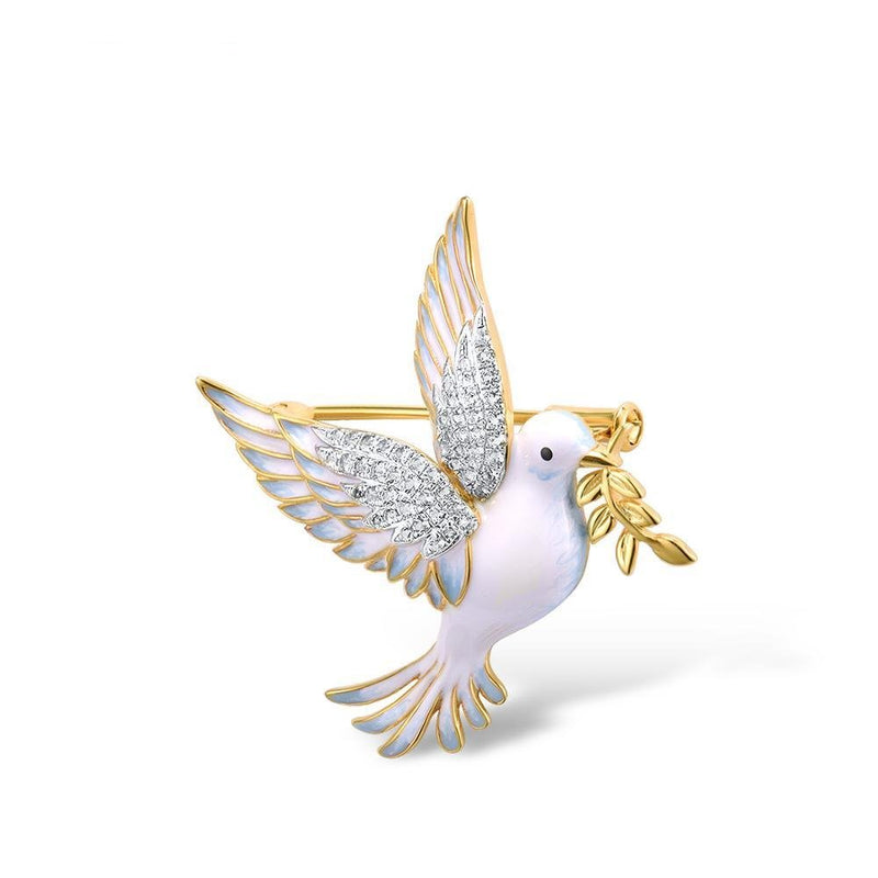 Yellow & Gold color peace pigeon brooch