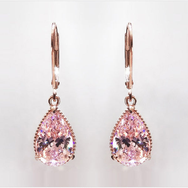 14K Rose Gold plated, Pink Topaz Diamond shaped Earring
