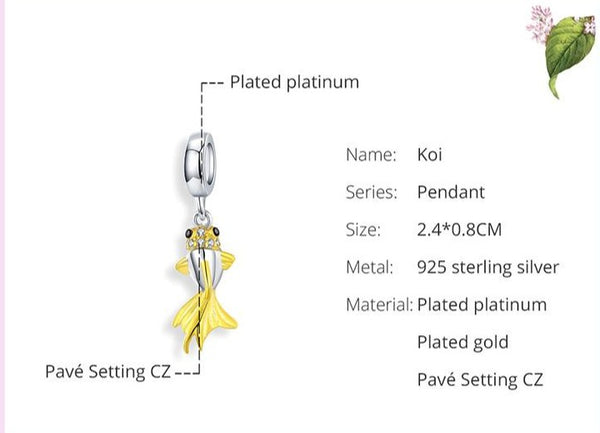 Sterling Silver with Gold colored fish pendant