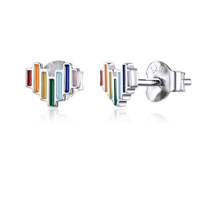 Sterling Silver rainbow heart shaped stud earrings.