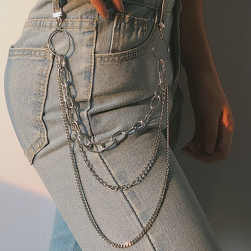 Punk Hip-hop/POP trending Three layer belt key chain waist  for pants or jeans
