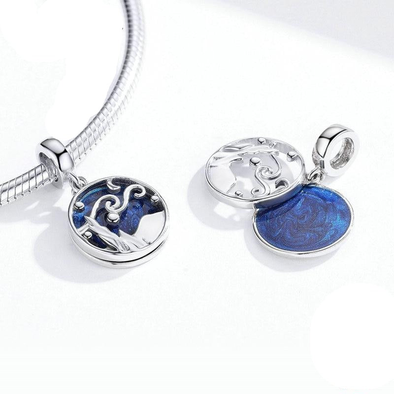 Sky Night Blue Enamel Pendant, necklace & bracelet.