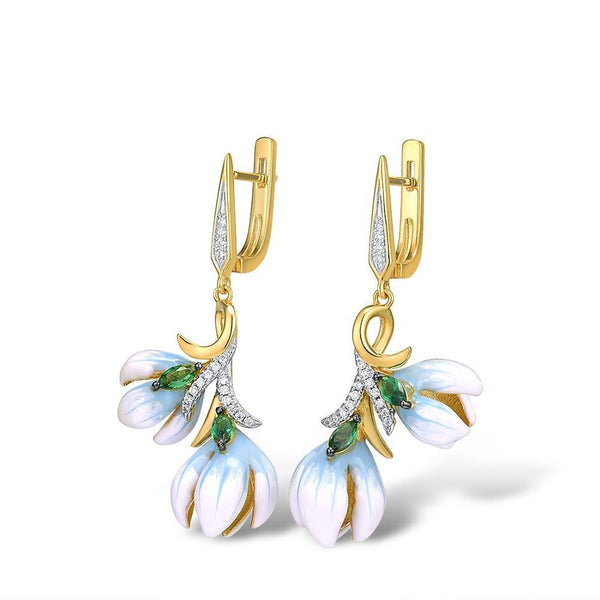 Handmade Enamel Orchid flower drop earrings.