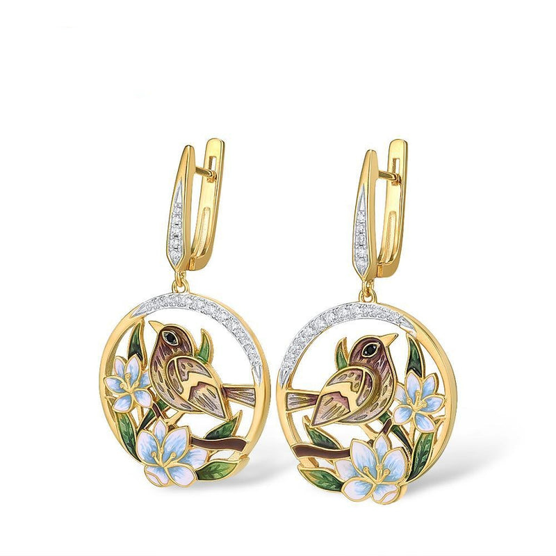 Gold color Enamel flower & Sparrow earrings with Zircon stones.