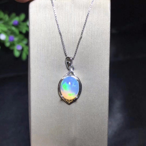 Natural Opal Necklace, changes color under different lighting.- 925 silver