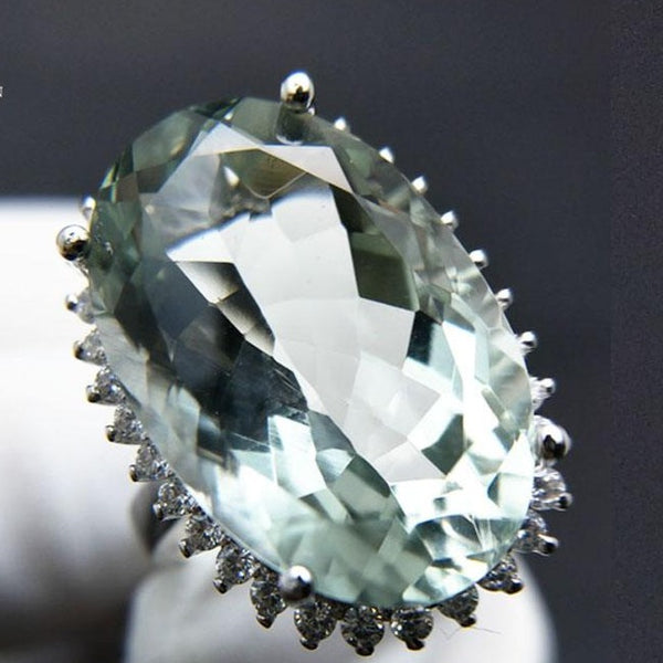 Big green amethyst quartz gemstone Ring in 925 sliver