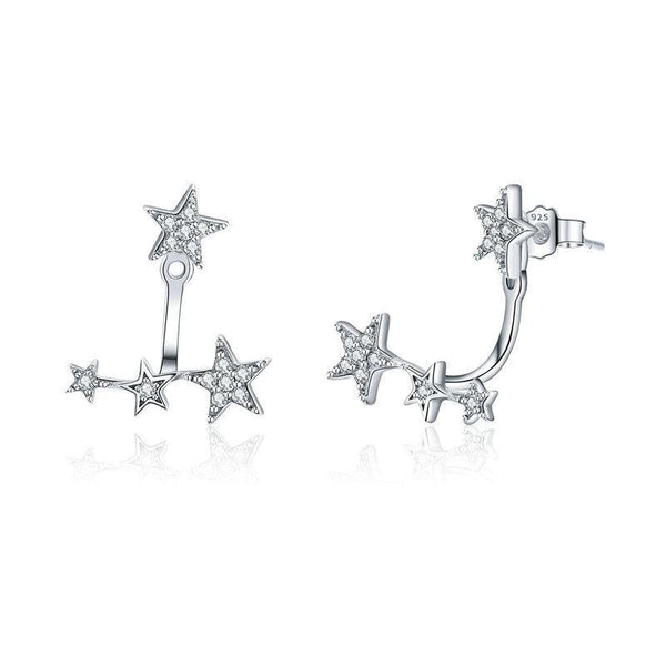 Sterling Silver earrings with silver cubic Zirconia stars.