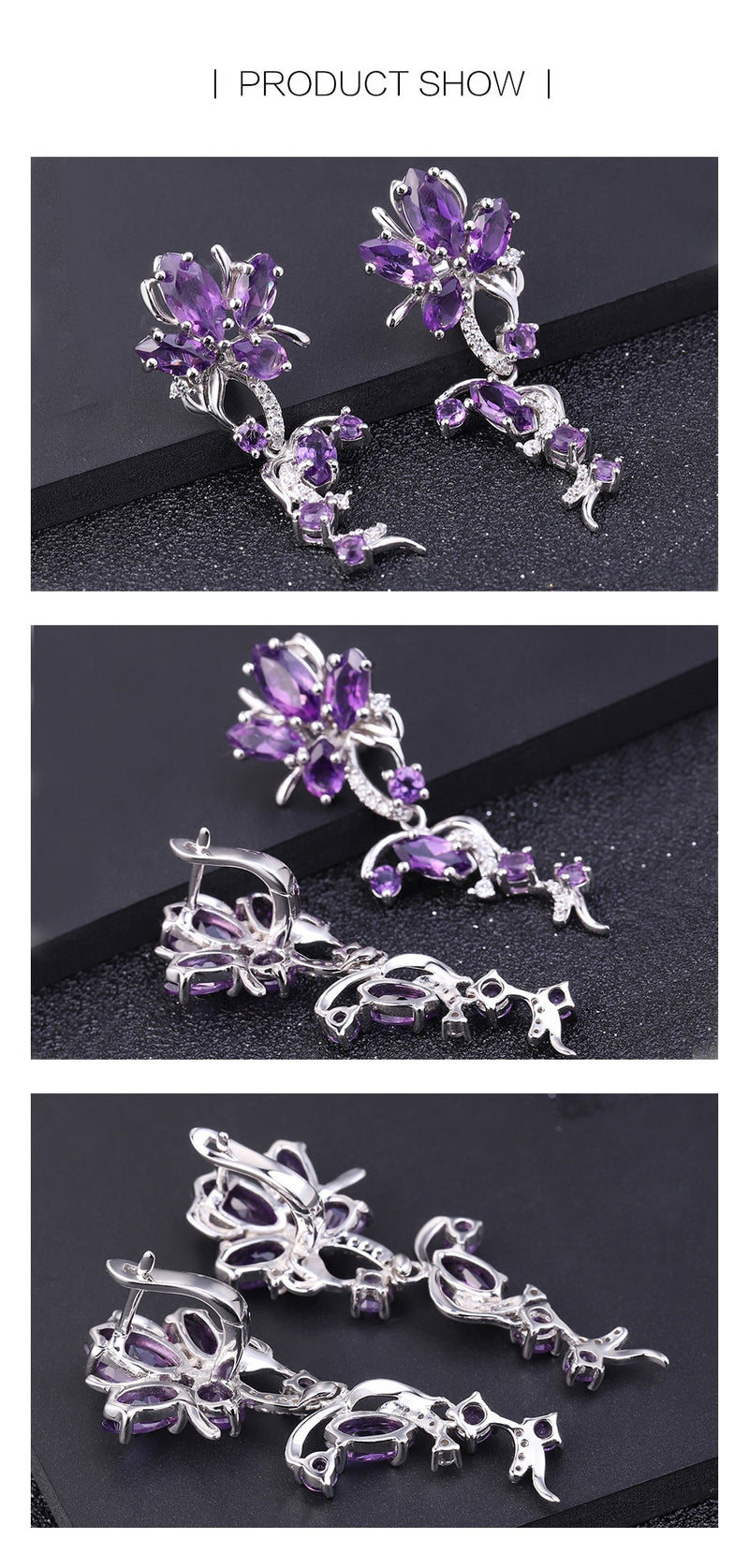 Flower shaped Amethyst Gemstone (7.28Ct) drop earrings with 925 Sterling Silver