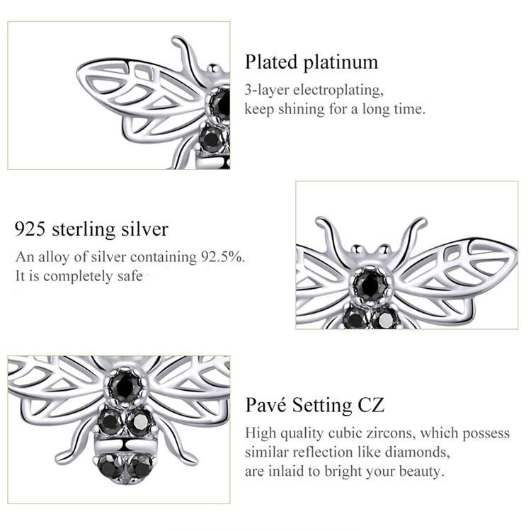 Bees shaped Sterling Silver stud earrings with black zircon