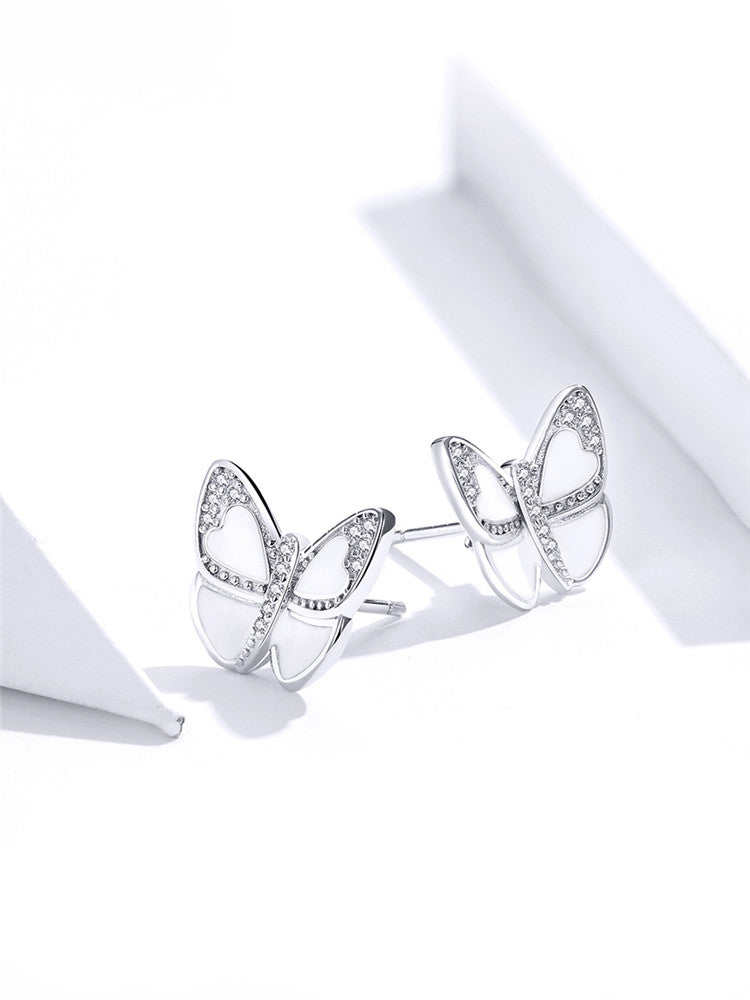 White Enamel butterfly  shaped stud earrings with 925 sterling Silver & Zircon