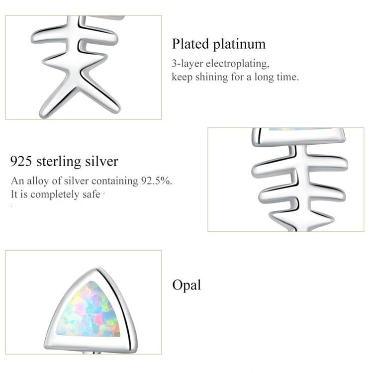 Fish Bone Stud Earrings made with Opal and sterling Silver