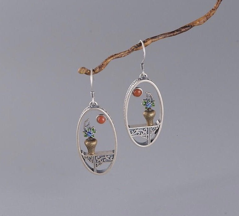 Handmade Enamel flower & vase shaped drop earrings