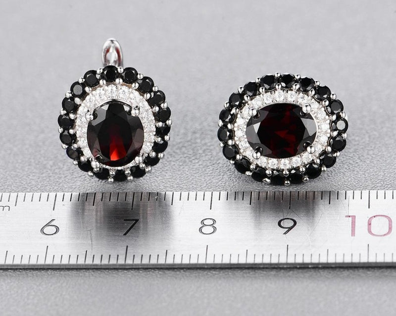 Black Garnet gemstone ring and earrings set for women.