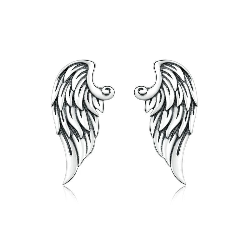 Silver wings stud earrings.