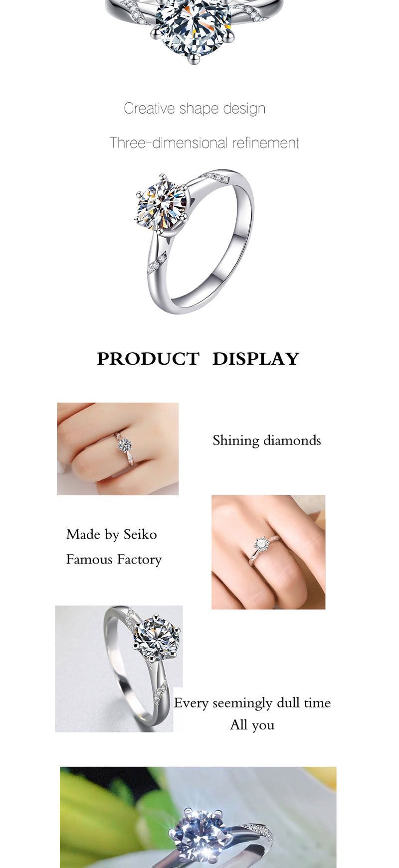 Moissanite round cut ring (1ct, 2ct, 3ct)