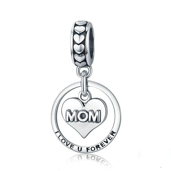 "Sterling Silver ""I Love u Forever Mom"" pendant/charm with Zircon for bangle, necklace."