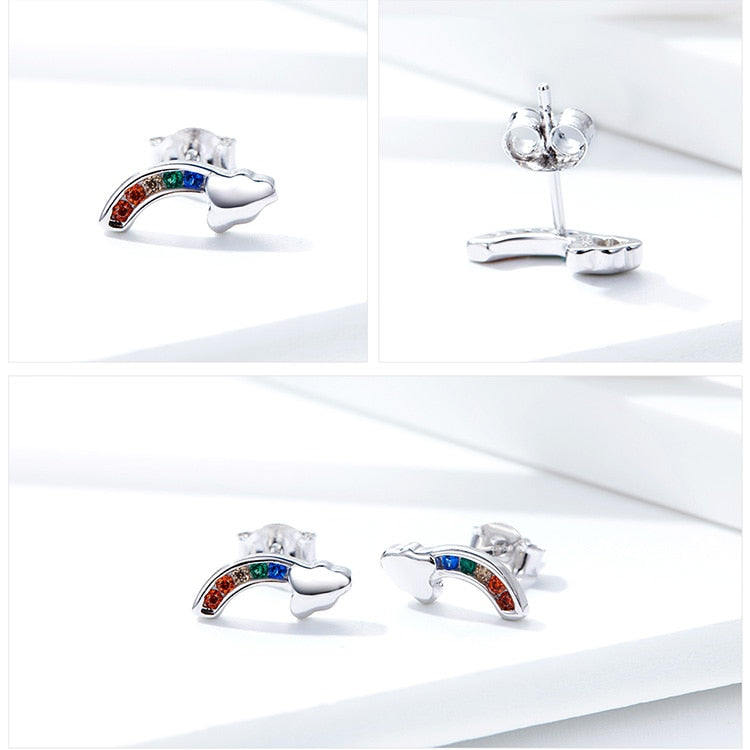 Zircon rainbow and cloud stud earrings with 925 sterling Silver