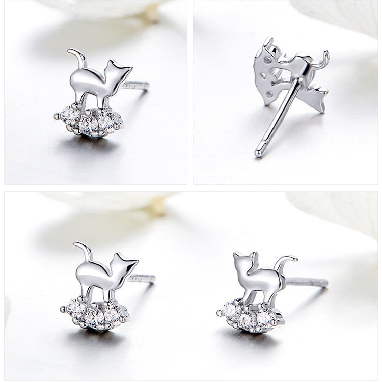 Crystal Cat shaped stud earrings with Zircon & Silver.