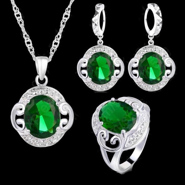Sterling Silver with Emeral jewelry set - Pendant,necklace + earrings.