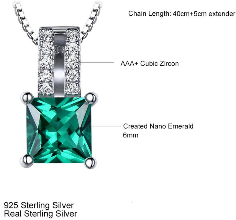Green Emerald charm pendant with 925 sterling Silver. (without necklace)