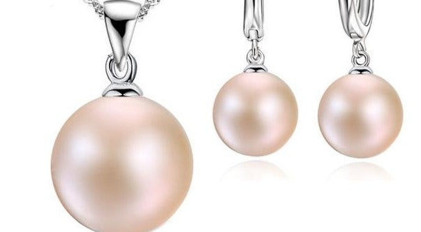 Pearl Drop Earrings jewelry set- includes Necklace, pendant & earrings.