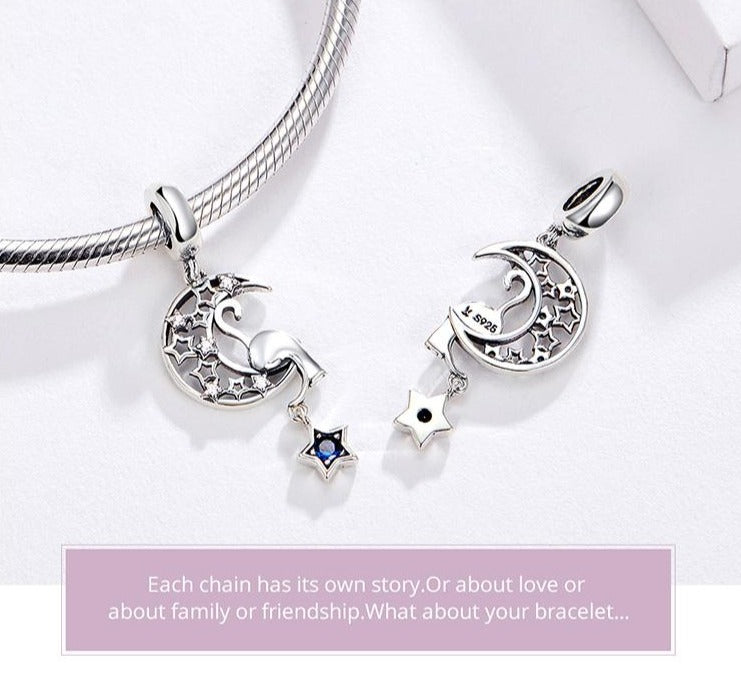 Moon,star & cat pendant for necklace or bracelet