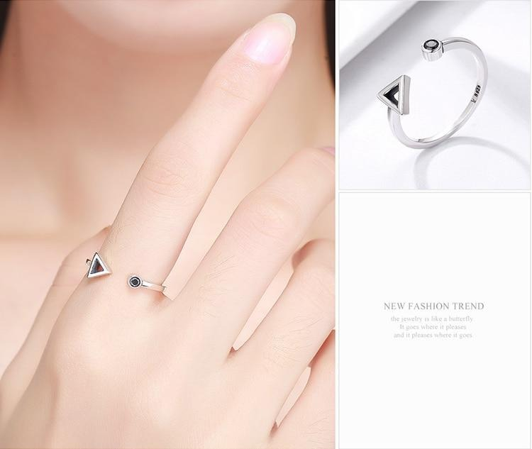 Sterling Silver with Zircon, Circle & Triangle shape open ring