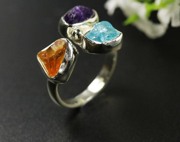 Amethyst citrine apatite gemstone ring (rough)