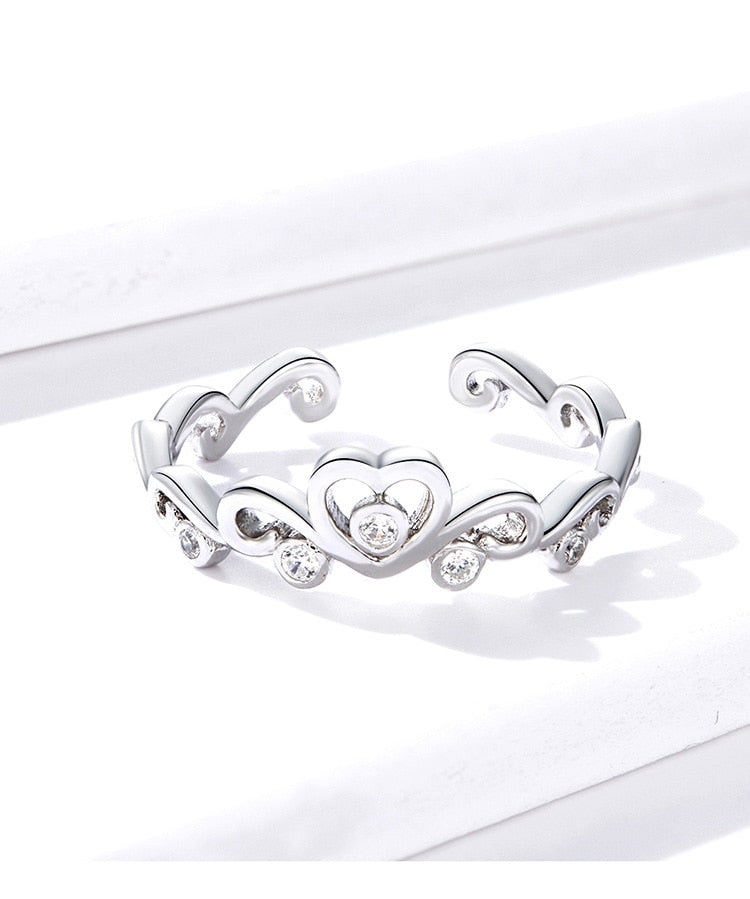Silver heart crown adjustable ring.