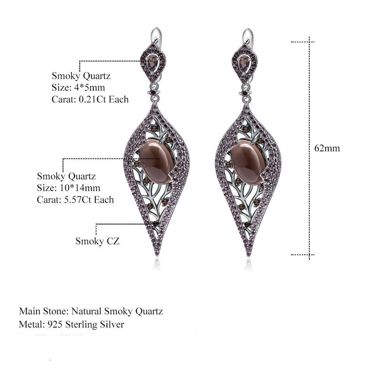 Gothic Coffee Drop Earrings made from smoky quartz vintage. Sterling Sliver