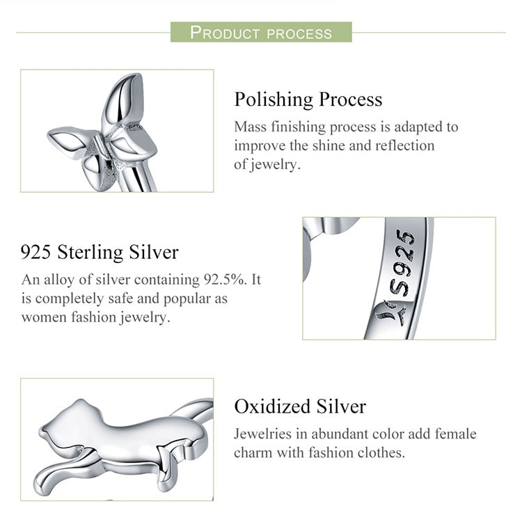 Sterling Silver butterfly &  Cat adjustable ring with Zircon