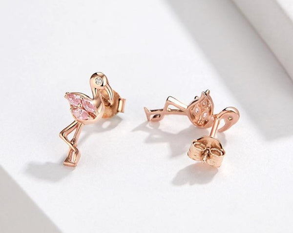 Flamingos stud earrings with pink cubic Zirconia & Silver.