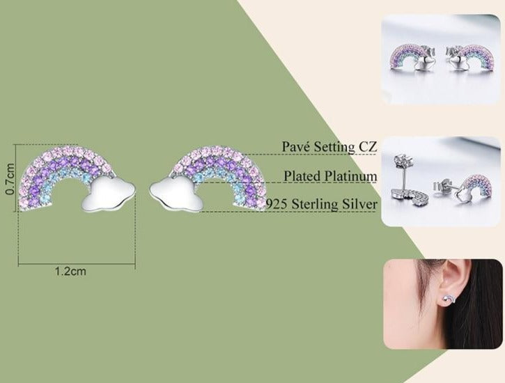 Sterling Silver with Zircon rainbow colors stud earrings