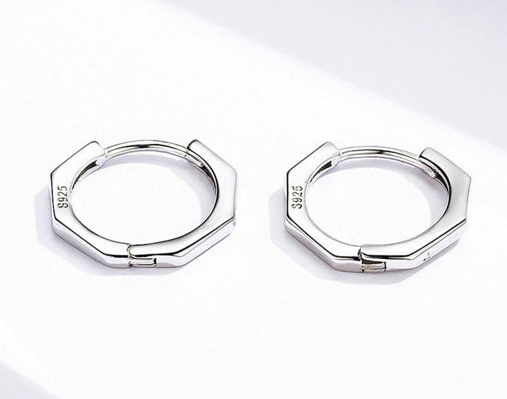 Silver Octagon hoop earrings